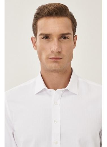 Altınyıldız Classics Tailored Slim Fit Dar Kesim Klasik Gömlek Yaka Armürlü Gömlek 4A2021200041 Beyaz